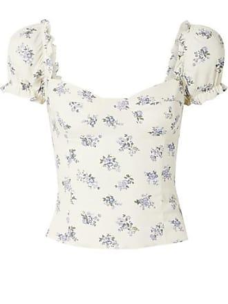 3b3b2e3cf2c Reformation Jewel Cropped Shirred Floral-print Crepe Top - Ecru