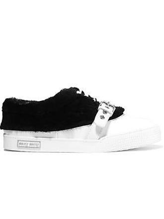 3098efad844 Miu Miu Miu Miu Woman Shearling-paneled Buckled Leather Sneakers White Size  34