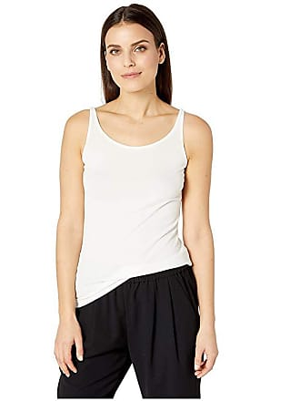 f9a6dbd01cb Eileen Fisher Petite Stretch Silk Jersey Scoop Neck Long Slim Cami (Soft  White) Womens