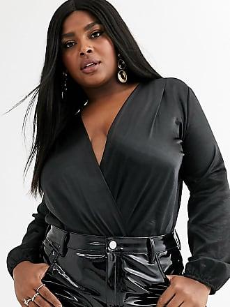 Flounce London Plus high shine satin wrap front bodysuit-Black