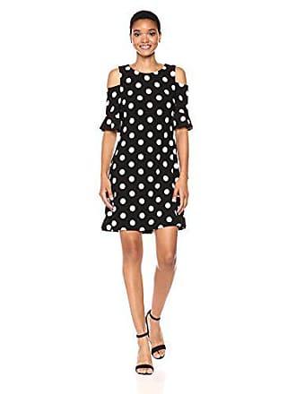 Tommy Hilfiger Womens Polka-dot Cold Shoulder Jersey Dress, Black/Ivory 10