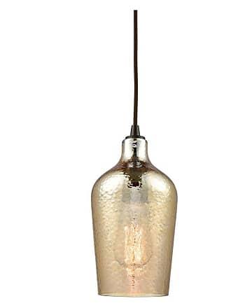 Elk Lighting 108 Hammered Glass 1 Light Pendant Light Mercury - 10830/1