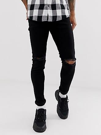 Topman skinny jeans with knee rips in black