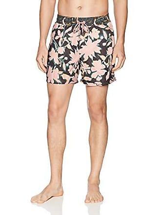 24ec8a2faa Maaji Mens Printed Elastic Waist Mid Length Swimsuit Trunks 6 Inseam,  Wildcard Black Floral,