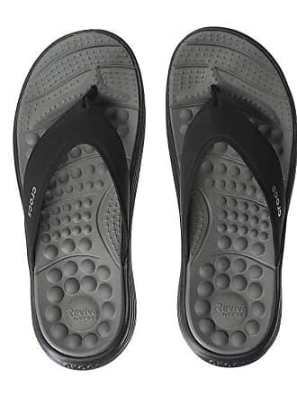 78b43e3c9 Crocs Reviva Flip (Black Slate Grey) Sandals