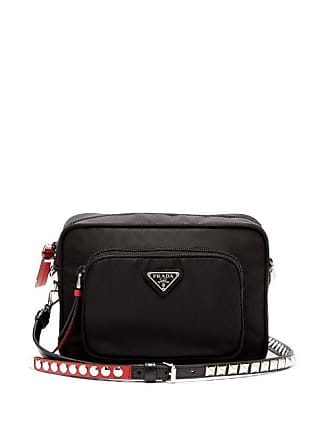 a59f0f740764 Prada New Vela Mini Studded Nylon Cross Body Bag - Womens - Black Red