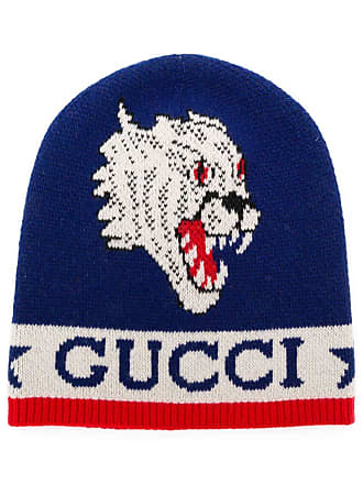 9a99fca8965 Gucci knit tiger patch beanie - Blue