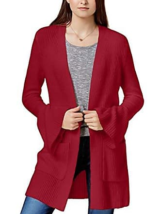 Kensie Womens Warm Touch Open Cardigan with Bell Sleeve, deep red, S