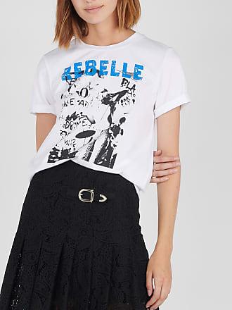 Tee-shirt col rond sérigraphié avec strass MAJE