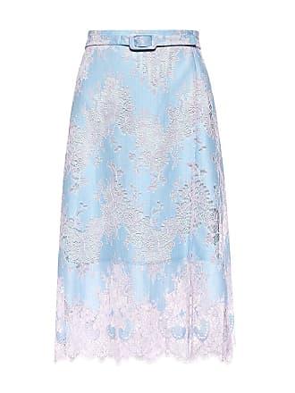 Carven Belted Floral Lace Skirt Blue