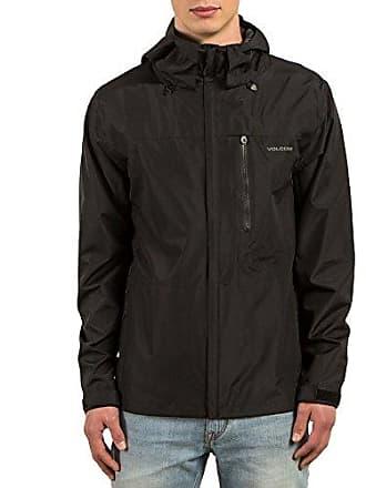Volcom Mens Stone Storm Rainbreaker Hooded Jacket, Black, Medium