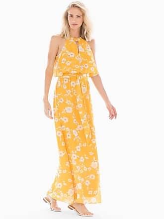 Soma Adrianna Papell Halter Maxi Dress Yellow Multi, Size 10