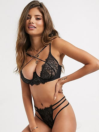 Wolf & Whistle lace and strapping details thong in black