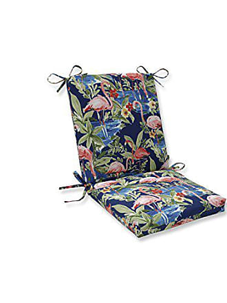 Pillow Perfect Outdoor | Indoor Flamingoing Lagoon Squared Corners Chair Cushion, Blue, 36.5 X 18 X 3