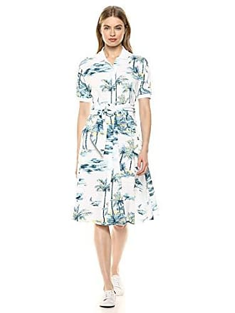 Lacoste Womens S/S Belted Hawaiian Print Pique Polo Dress, White, 6