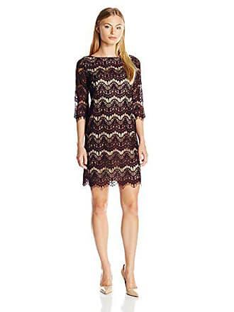 ad5e6942557e Jessica Howard Womens Petite 3/4 Sleeve Shift Lace Dress, Eggplant/Camel,