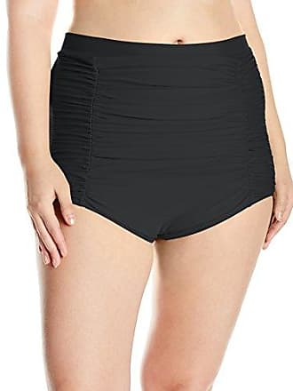 341a28865bd Unique Vintage Womens Plus-Size Classic High-Waist Ruched Monroe Bikini  Bottom