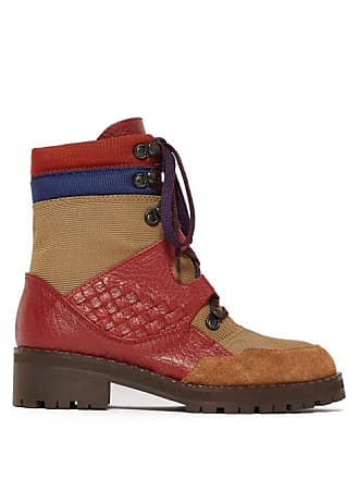 Bottega Veneta Intrecciato Lace Up Leather Canvas Boots - Womens - Khaki Multi