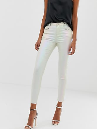 Lipsy coated skinny jeans in pearlescent cream - Pink