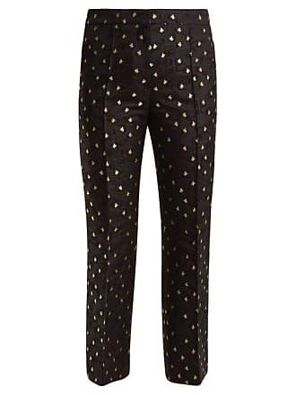 Rochas Cropped Cotton Blend Floral Jacquard Trousers - Womens - Black Multi