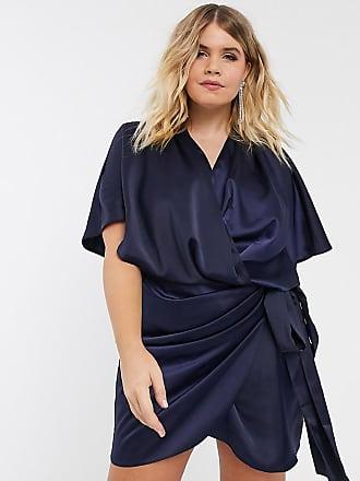 Asos Curve ASOS DESIGN Curve - Vestito corto a portafoglio stile kimono allacciato in vita-Navy