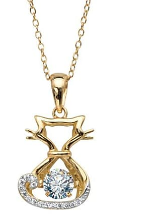 PalmBeach Jewelry Round CZ in Motion Cubic Zirconia Cat Charm Pendant Necklace.78 TCW 14k Yellow Gold-Plated 18-20