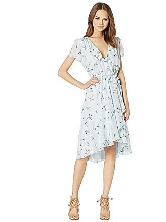 6a430daf38 Wayf Sutton Wrap Ruffle Mini Dress (Sky Blue Floral/Foil Stripe) Womens  Dress