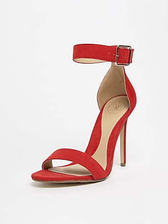 654e573f1204 Missguided Ankle Strap Barely There Heeled Sandal - Red