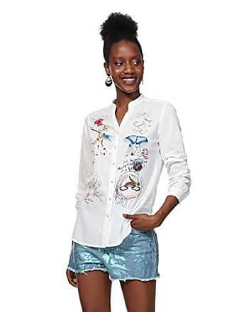 6beec895c26c0 Desigual Shirt Long Sleeve COLORME Woman White, Chemise Femme, Blanc (1000),