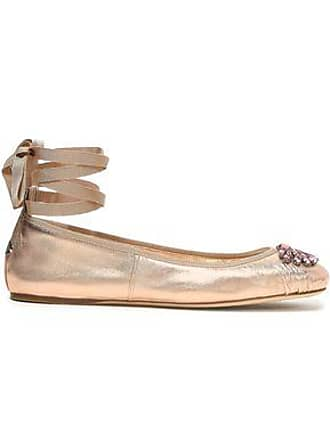 Jimmy Choo London Jimmy Choo Woman Grace Crystal-embellished Metallic Leather Ballet Flats Rose Gold Size 38.5