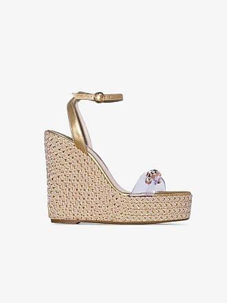 1824dd172b5 Sophia Webster metallic gold Dina 140 leather wedge sandals