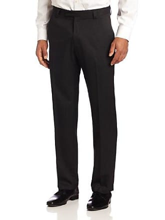 Kenneth Cole Reaction Mens Stripe Slim Fit Flat Front Dress Pant, Black, 34x29