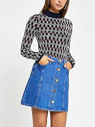 63e51d009a River Island Womens Blue button front denim mini skirt