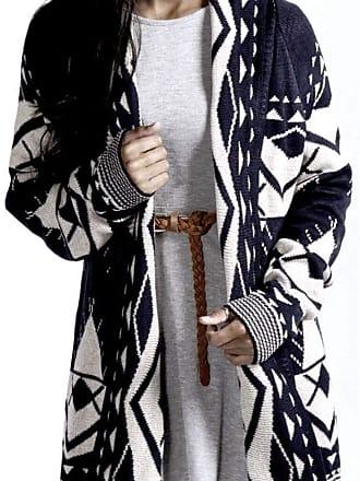 21Fashion Womens Aztec Print Front Open Cardigan Ladies Long Sleeve Winter Sweater Top Navy/Stone UK 18