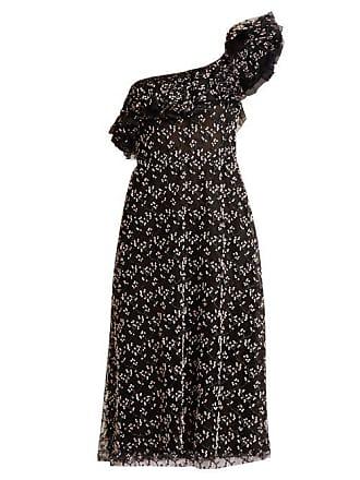 Giambattista Valli One Shoulder Embroidered Cotton Blend Tulle Dress - Womens - Black Pink