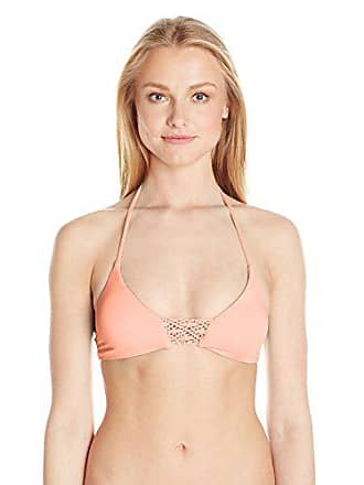 Quintsoul Womens Macrame Bralette Bikini Top, Light Coral, Small