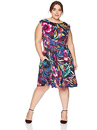 d4f0ddd0cde Gabby Skye Womens Plus Size Cap Sleeve Round Neck Scuba Fit and Flare  Dress