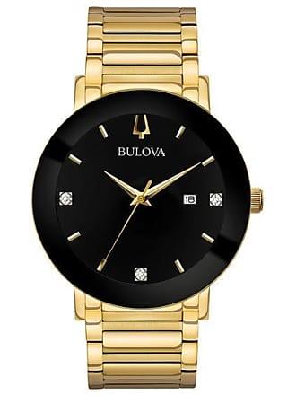 Zales Mens Bulova Modern Diamond Accent Gold-Tone Watch with Black Dial (Model: 97D116)