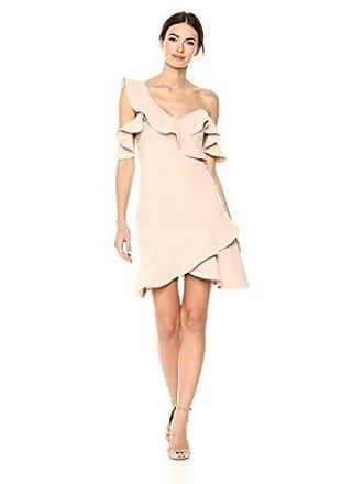 Bcbgmaxazria BCBGMax Azria Womens Malik Asymmetrical Ruffle Dress, Bare Pink, 8