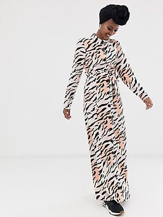 b52a9c71f0b3 Asos Vestito lungo a maniche lunghe con bottoni e cintura zebrato -  Multicolore