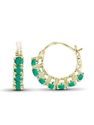 JewelersClub JewelersClub 1 3/4 Carat T.G.W. Emerald 14kt Gold Over Silver Hoop Earrings