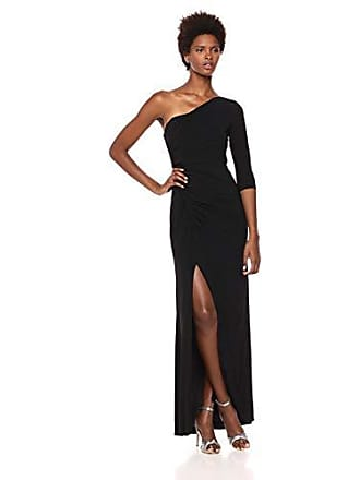 Adrianna Papell Womens One Shoulder Long Matte Jersey Dress, Black, 14