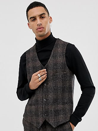 Heart & Dagger slim suit vest in brown harris tweed - Brown