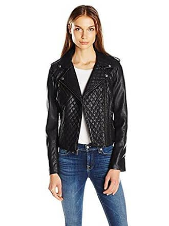 Levi's Womens Faux Leather Assymetrical Diamond Quilted Moto Jacket, Black, L