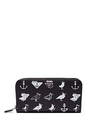b95efe59f86f88 Prada Seagull Print Saffiano Leather Wallet - Mens - Black