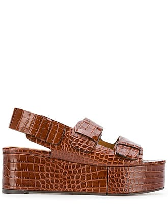 Robert Clergerie crocodile effect platform sandals - Brown