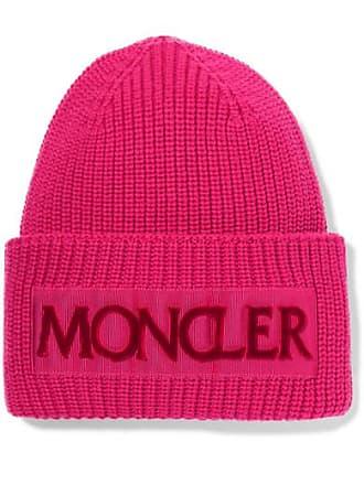 17b585db133 Moncler Flocked Grosgrain-trimmed Ribbed Wool Beanie - Pink