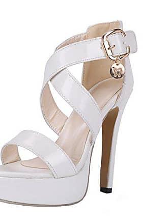 63137a4067b37c UH Damen High Heels Plateau Knöchelriemchen Lackleder Sandalen mit Schnalle  und Stiletto 13cm Elegante Schuhe