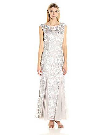 bfa4ac2a55ba Alex Evenings Womens Embroidered Dress with Illusion Neckline
