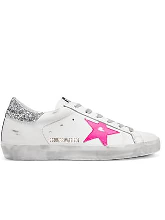 Golden Goose Superstar Glittered Distressed Leather Sneakers - White